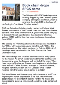 Book chain drops SPCK name