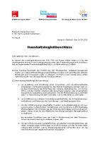 Antrag SPD FDP und FW – Haushaltsbegleitbeschluss