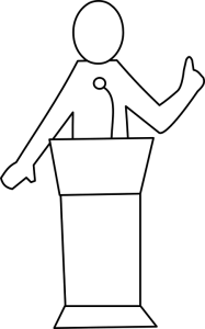 Person behind podium clipart