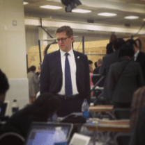 Jay Carney, the White House spokesperson, showed up at Applied Materials and hung out in the press area during Obama's speech.