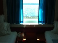 Ocean view stateroom during a cruise to Alaska