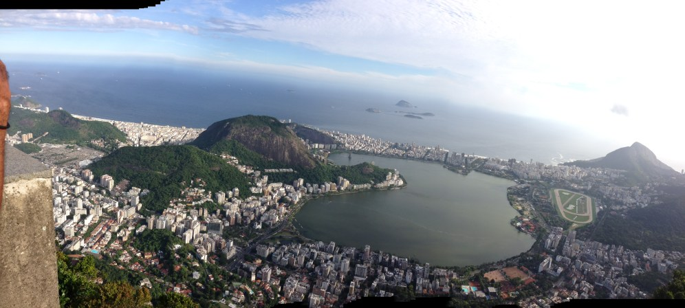 Christ the Redeemer is located at the peak of the Corocovado Mountain overlooking the city of Rio de Janeiro, Brazil.