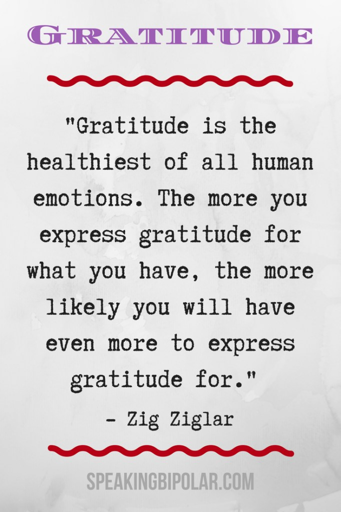 Achieve an attitude of gratitude in Part 2 of the Spotlight on Gratitude series. This post features eight more inspiring gratitude quotes with ideas of how to apply them in your life. | #gratitude #chronicillness #bipolar #spoonie #mentalillness #SpeakingBipolar