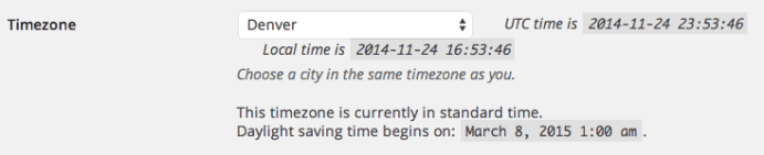 WordPress Timezone Setting