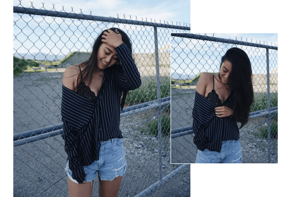 pinstripe menswear top