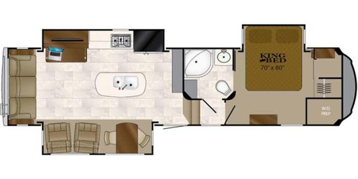 Find Specs for 2018 Heartland  - Bighorn <br>Floorplan: BH 3270 RS (Fifth Wheel)