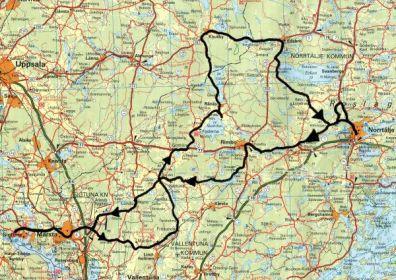 Här är routen som vi körde. Ca 20 mil på nästan bara små och krokiga vägar.