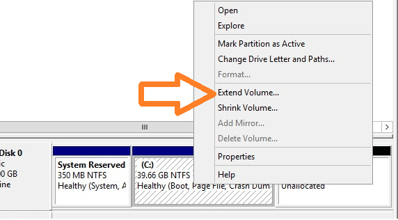 vmware ws2008 disk resize 4c