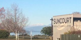 Suncourt Hotel, Lake Taupo and mountains