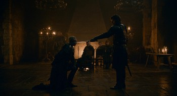 Jamie knighting Brienne
