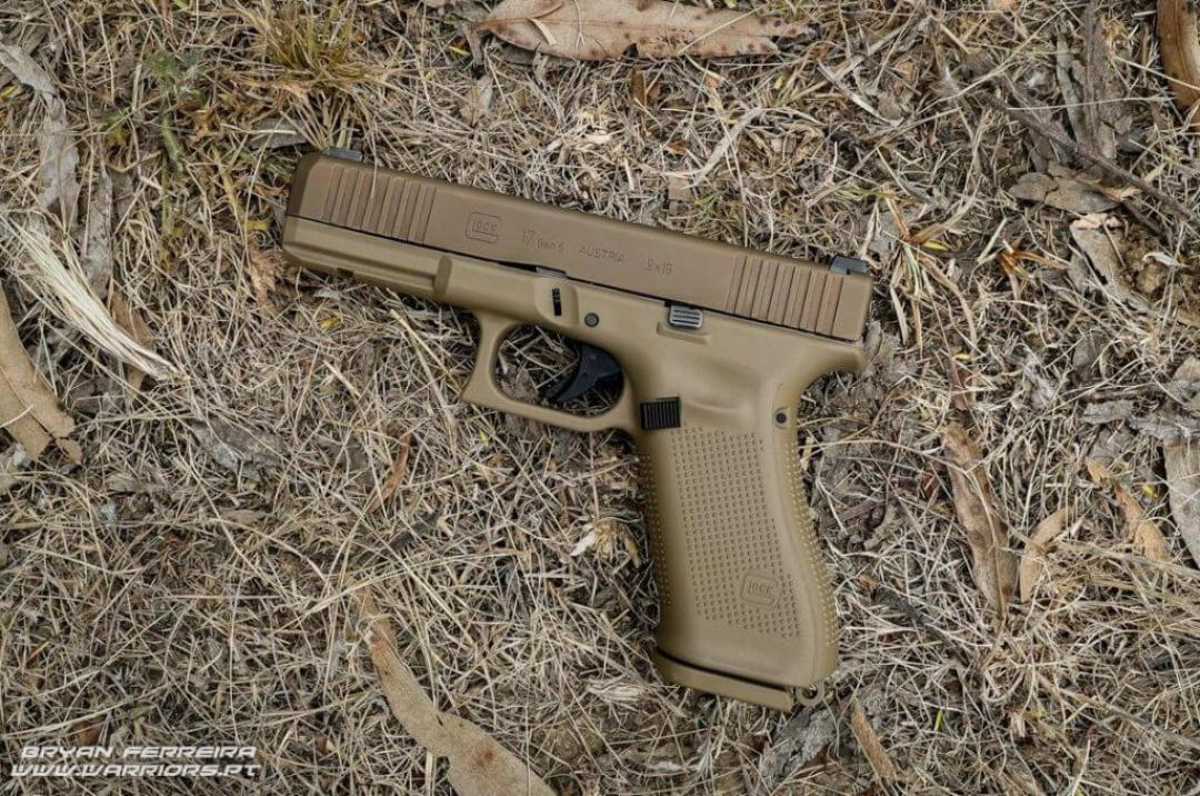 Le Glock 17 Gen 5 récemment adopté par les Portugais. Alors oui c'est FFOMECBLOT et c'est stylé, mais le traitement de surface de la culasse est moins durable que le noir de nos nouveaux PSA.