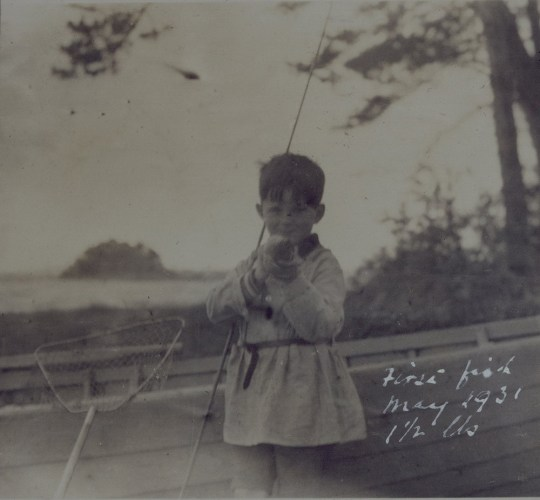 Peter O'Mara with his first catch in May 1931 (P40/912/025)