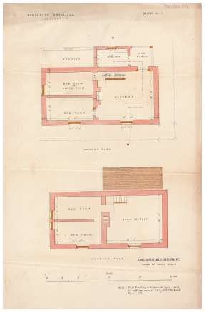 Coloured plans of a labourer's dwelling