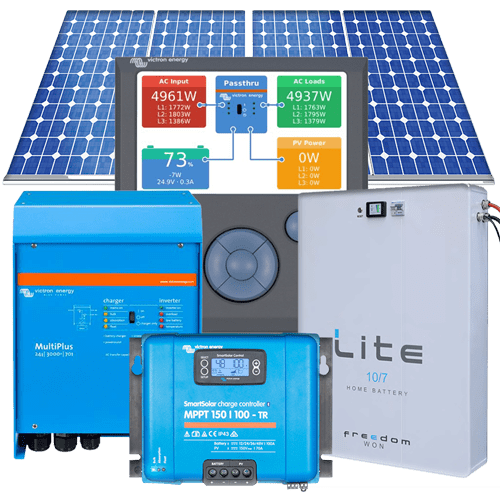 Medium Residential Complete Grid-Interactive Hybrid Solar System 5kVA 24kWhr per day with Lithium Iron Phosphate 7kWhrs Battery