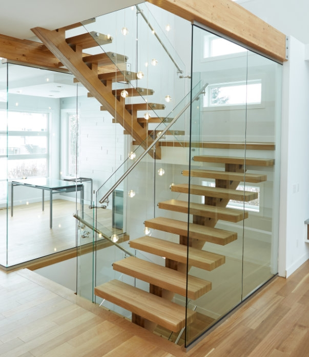 Custom Staircase Photos Specialized Stair Rail Edmonton Kelowna   White And Glass Staircase   Step   Before And After   Handrail   Stained   Oak