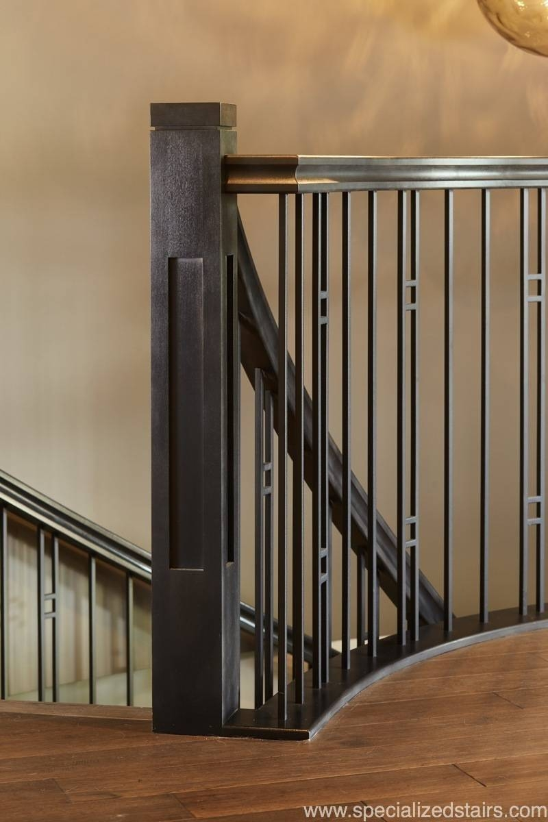 Mission Style Curved Stair Specialized Stair Rail | Mission Style Hand Railings | Indoor | Bungalow | Front Porch | Art Craft | Hand