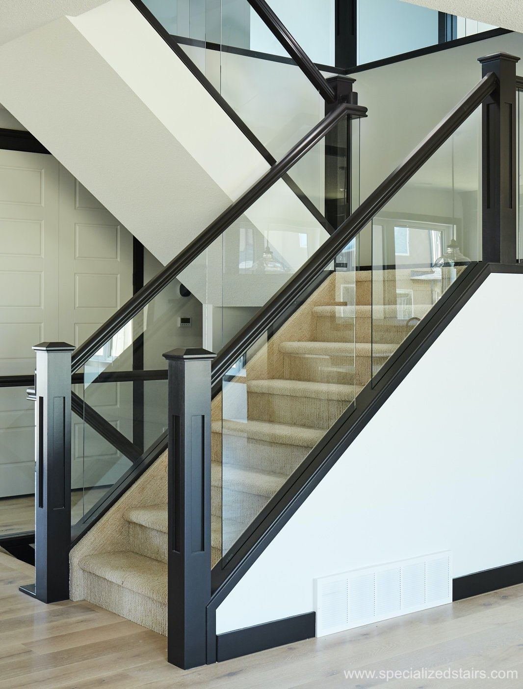 Dadoed Glass Railing Specialized Stair Rail | Steel Railing With Glass For Stairs