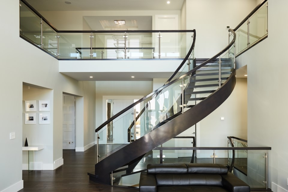 Top 10 Modern Glass Railing Inspirations Specialized Stair Rail   Modern Glass Staircase Design   Half Wall Glass   Marble Floor Glass   Modern Style   Stainless Steel   Stair Case