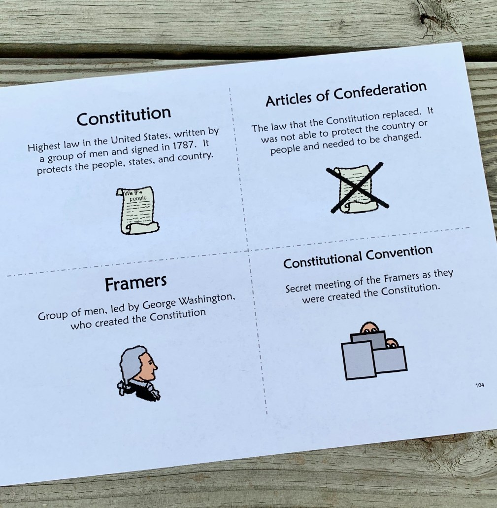Vocabulary cards for Constitution unit