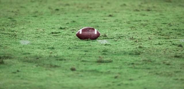 American football on football field