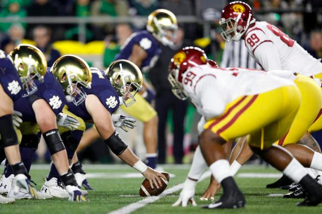 USC and Notre Dame battle in South Bend during the 2019 season.