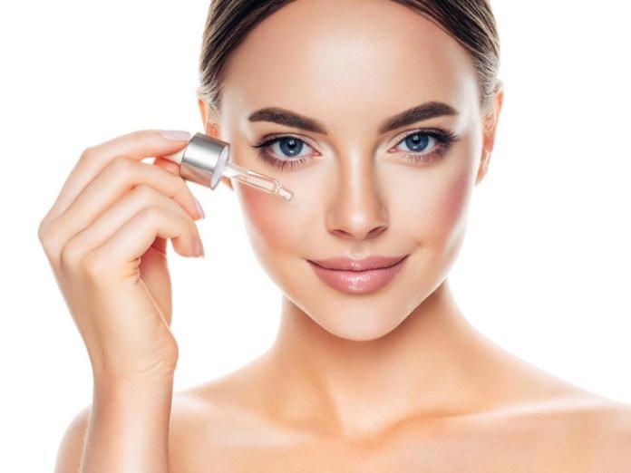 Beautiful girl getting skin anti aging treatment