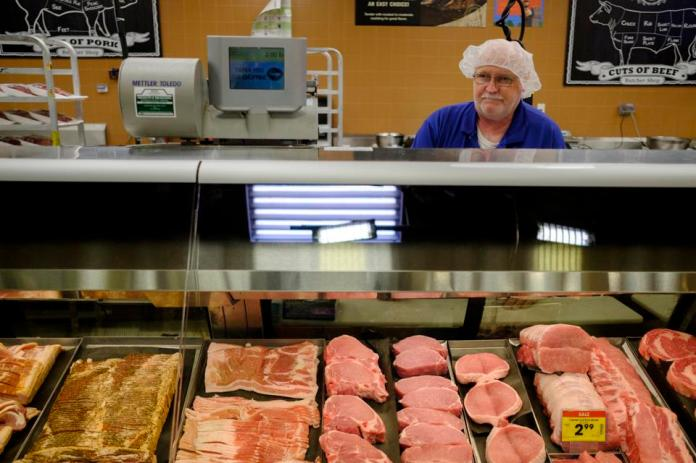 Meat ready for buyers in a Kroger grocery store in Indiana during the coronavirus crisis.