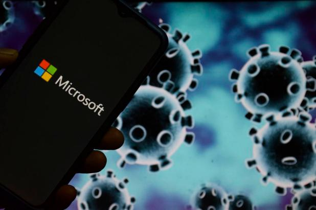 Cloud Computing: In this photo illustration the Microsoft logo seen displayed...