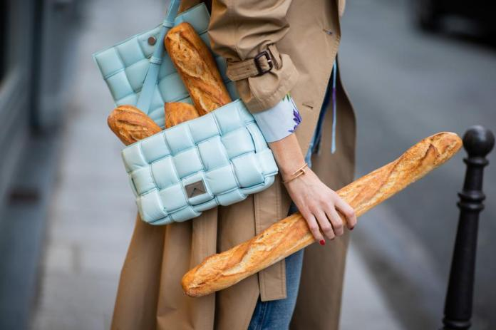 The women with the baguette and the purse of the march in Paris, France