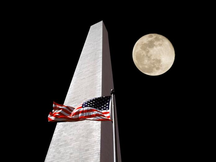Collage of the Washington Monument, American flag, and moon