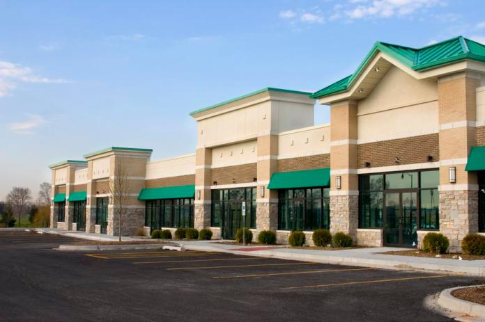Brand-new strip mall and parking in the suburbs