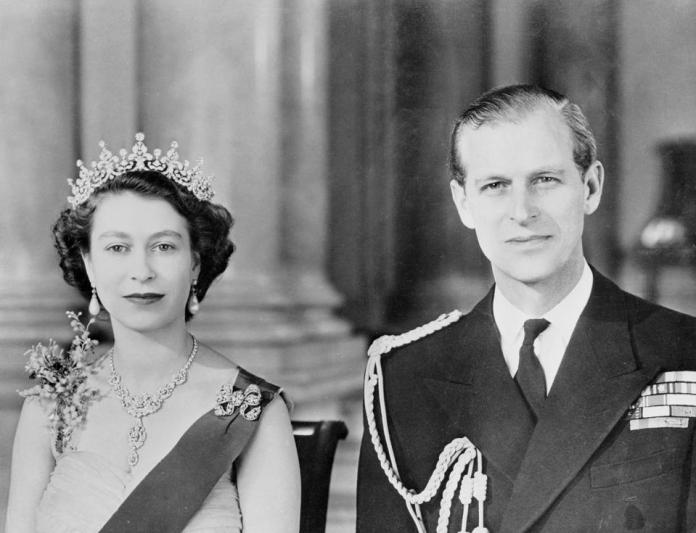 Queen Elizabeth II and Husband Duke of Edinburgh Posing in Royal Attire