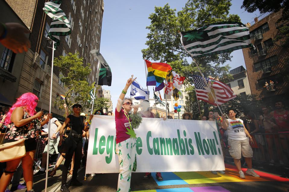 Pro-cannabis marchers. The 46th annual NYC Pride March...