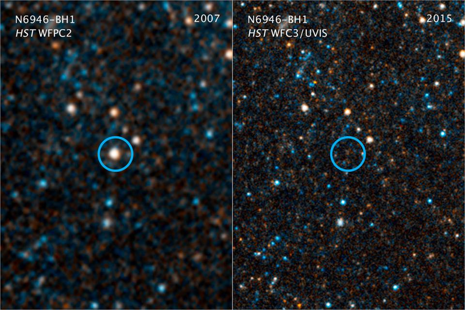 Hubble image of a star that appears to have collapsed directly to a black hole.