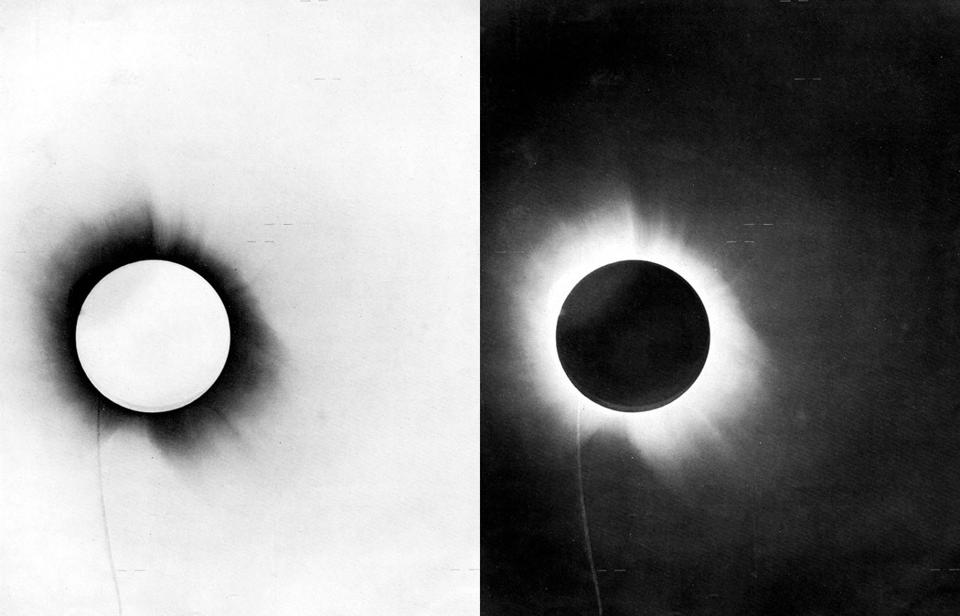 Actual negative and positive photographic plates from the 1919 Eddington Expedition.