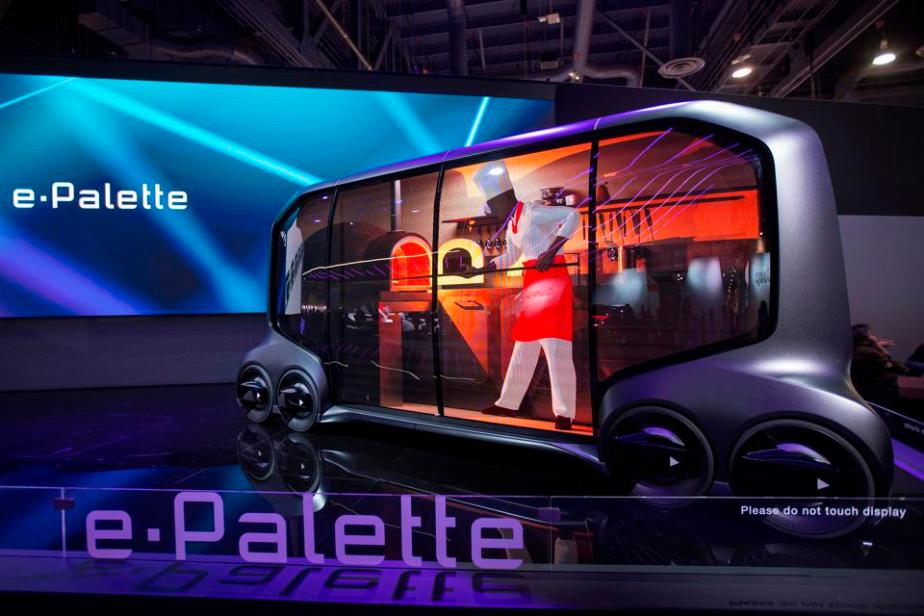 The Toyota e-Palette, an autonomous vehicle designed for multiple business purposes such as driverless stores, is displayed at CES in Las Vegas, Nevada, January 12, 2018.