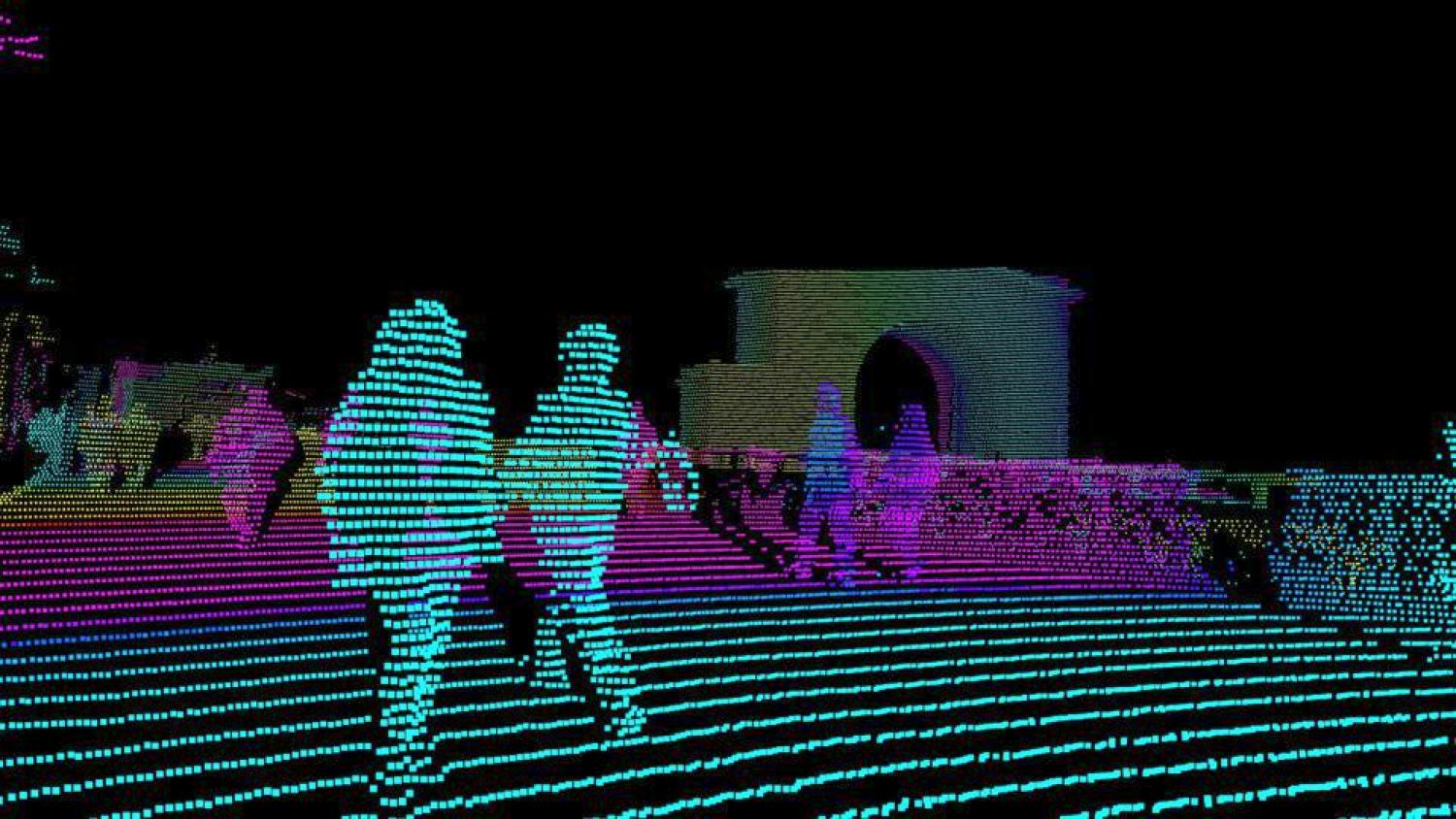 A laser point cloud image generated from a Luminar lidar sensor in testing by AID in Munich, Germany.