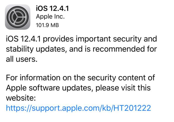 This is iOS 12.4.1