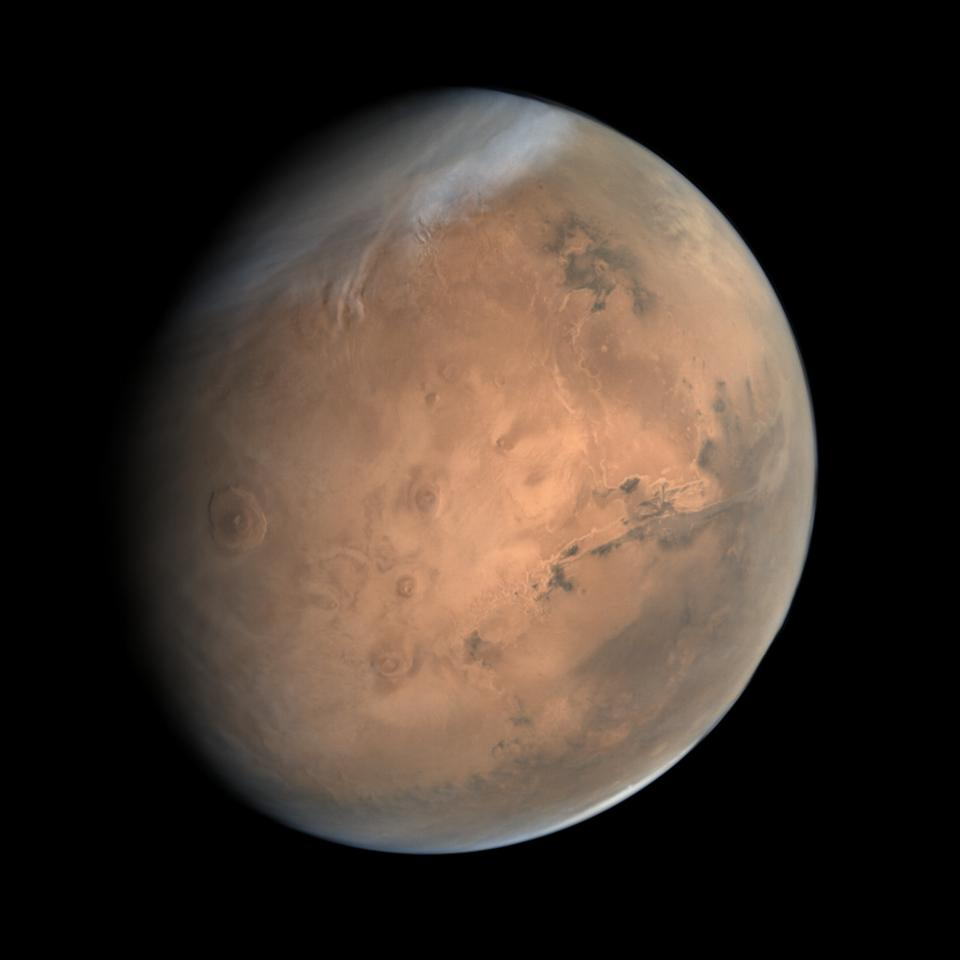 True-color image of Mars acquired by India's Mars Orbiter mission on October 10, 2014, from an altitude of 76000 km.