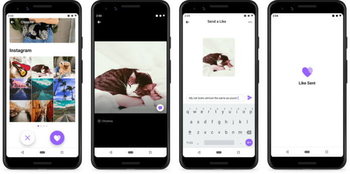 Facebook Dating lets you like specific pieces of content and add a message.