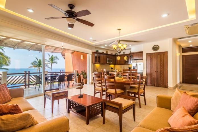 Vivo offers open-concept living and dining with contemporary wood furniture.