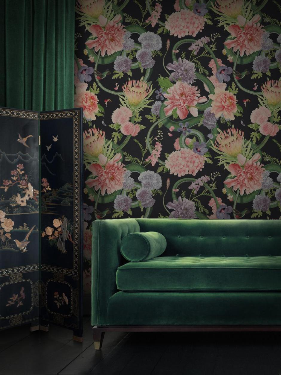 Divine Savages Collaboration with the  Natural History Museum Forbidden Bloom wallpaper - Large scale luxury floral wallpaper design