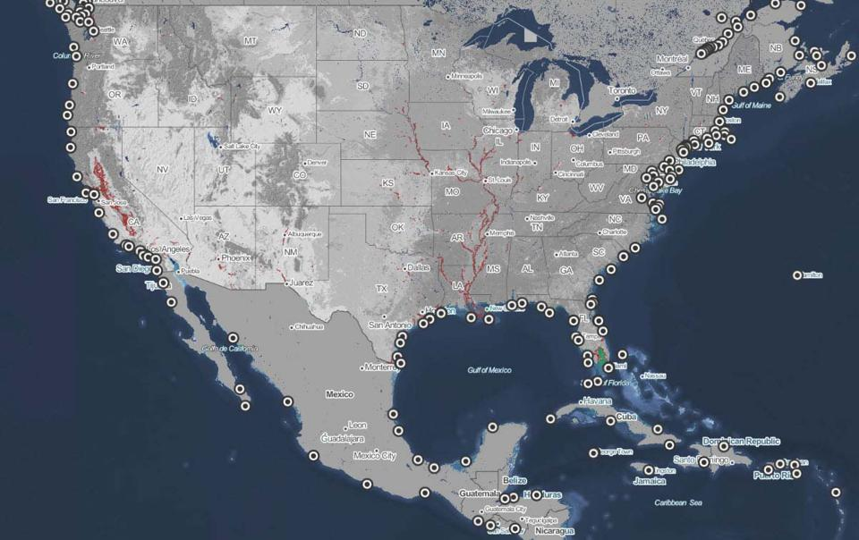 Map of the United States indicating high risk flood areas with sea level rise.