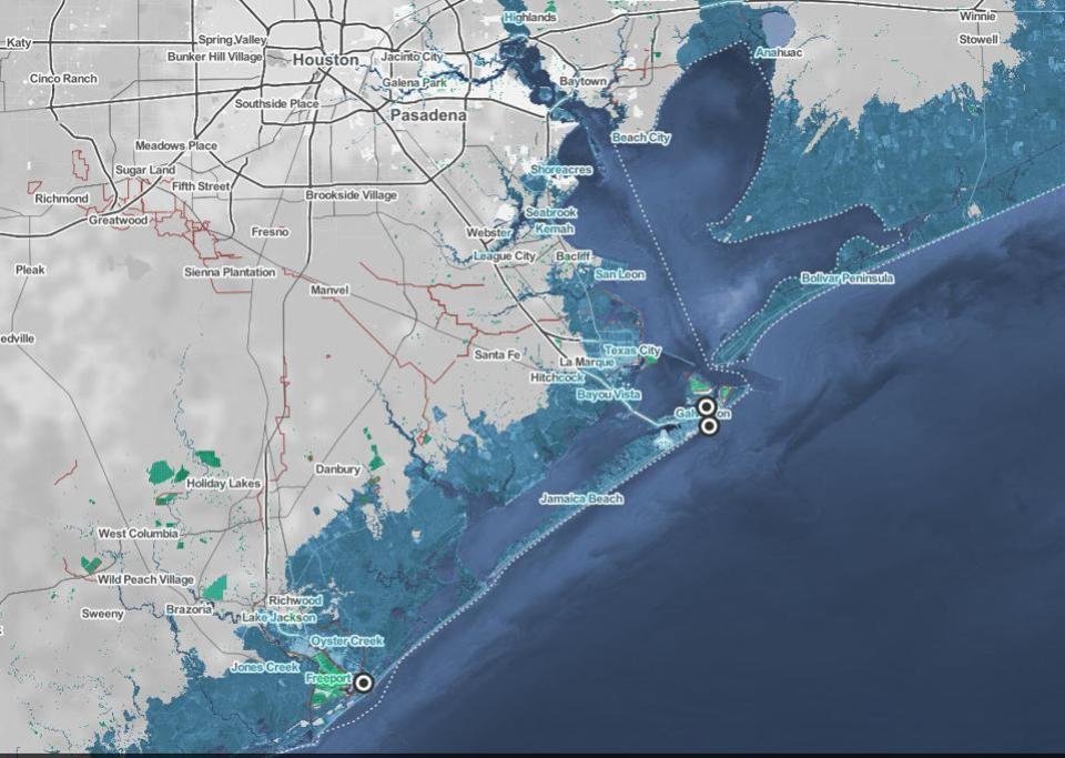 Houston coastal territory under water