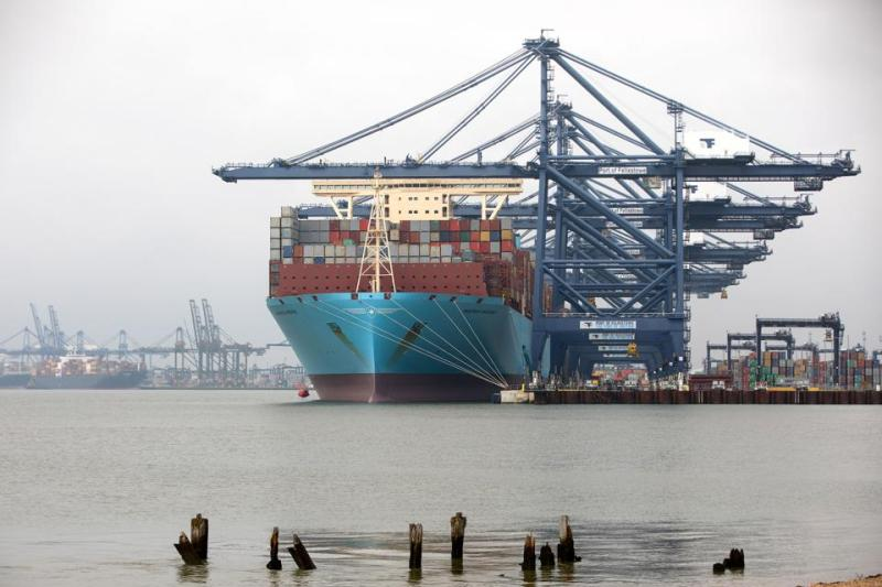 Container ships at the port of Felixstowe in England.