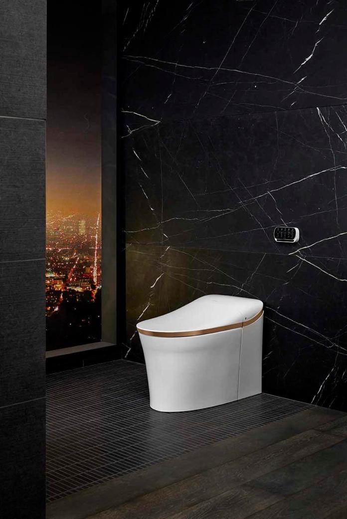 This is Kohler's Eir Intelligent Toilet which features a heated seat, customizable cleansing, night-light, hands-free opening/closing, automatic flush, touchscreen remote and dual-flush technology.