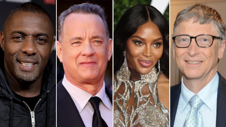 Idris Elba, Tom Hanks, Naomi Campbell, Bill Gates