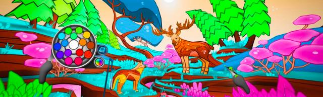 This scene in Color Space is set in the woods with trees, flowers, and a buck