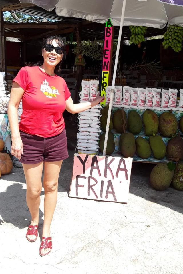 Jet Metier with Jackfruit at a roadside stand in Nayarit, Mexico