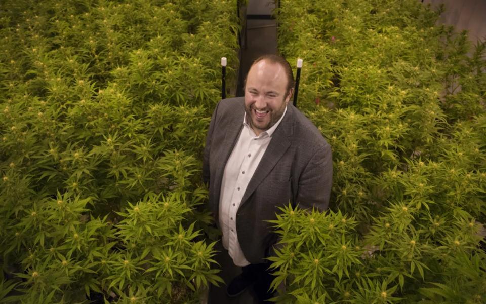 Josh in his indoor grow in Washington, DC